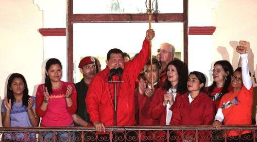 Celebración de la victoria electoral de Hugo Chávez