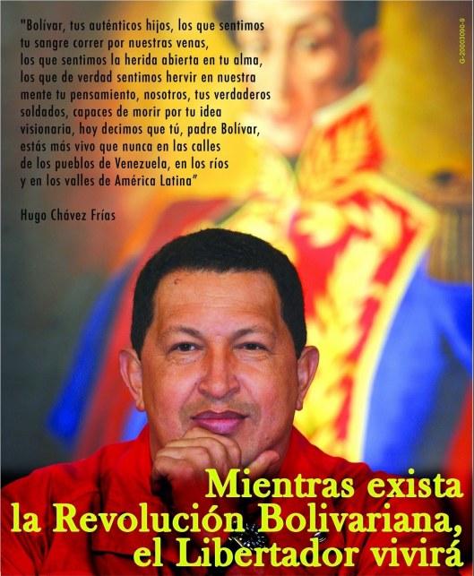 Frase de Chávez y retrato de Bolívar.