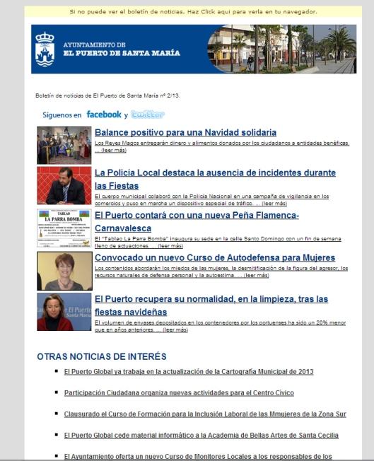 Newsletter de www.elpuertodesantamaria.es