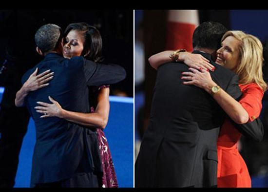 Abrazos entre familias Obama y entre los Romney.