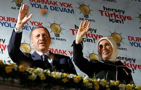Erdogan, con su esposa.