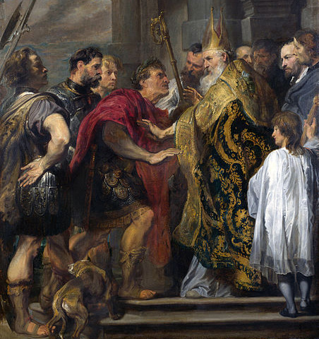 Teodosio I y San Ambrosio.