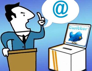 Político, Twitter, urna y atril
