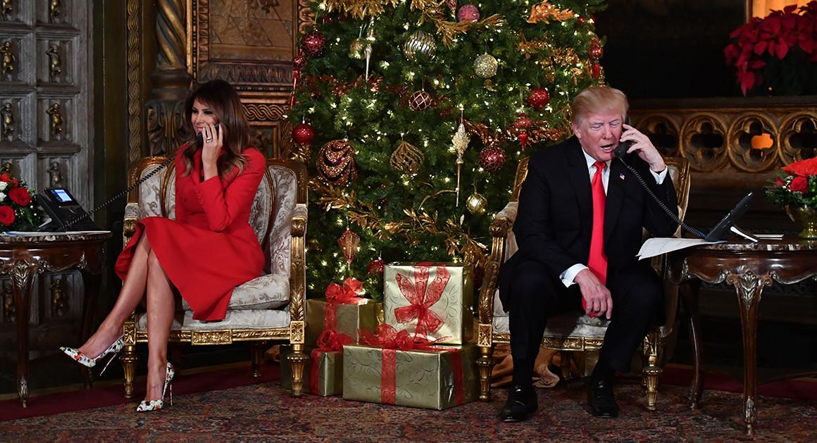 Donald y Melania Rump en Navidad